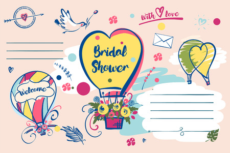Bridal shower vector template. Invitation with balloon and text welcome.