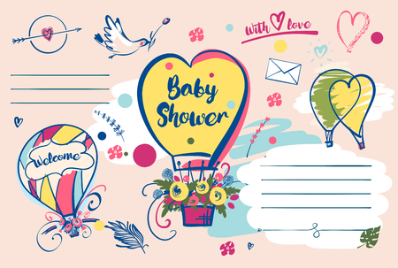 Baby shower invitation. Design postcard with love heart balloon.
