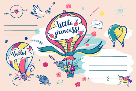 Little girl princess postcard. Vector template baby shower invitation with open space for text.