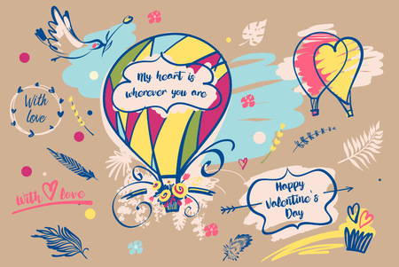 Freehand drawn illustration with text my heart is wherever you are. Balloon with flower. Valentine day.