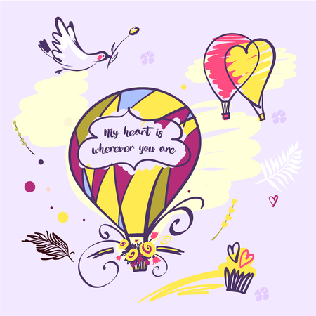 Image with text my heart is wherever you are. Balloon and bird illustration.
