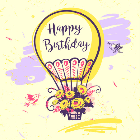 Image of vector color balloon with flower and text. Illustration for happy birthday.