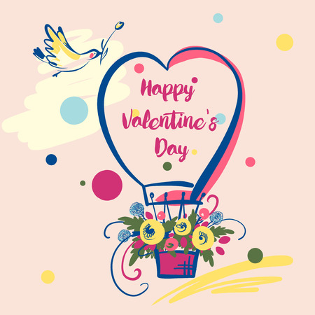 Illustration with balloon, flower and bird. Text happy valentine day on image of heart.