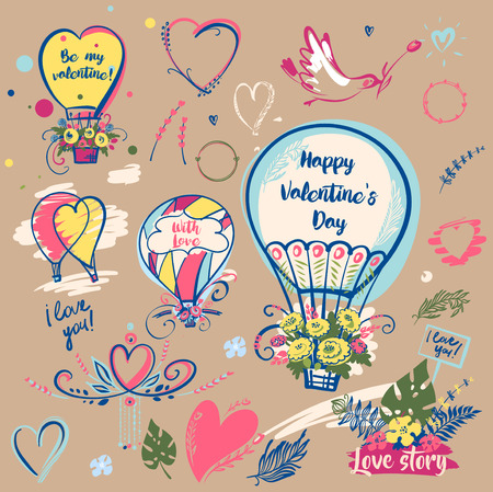 Set of image balloon for happy valentines day, love story. Bird with flower. Text be my valentine.