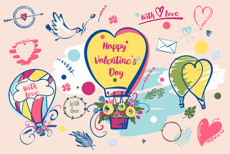 Set of image balloon for happy valentines day, with love.