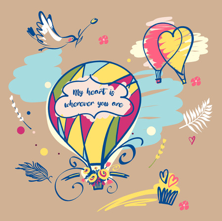 Image balloon with text my heart is wherever you are.