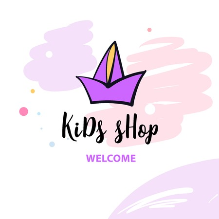 Welcome to kid shop. Hand drawn image with ship on white background.