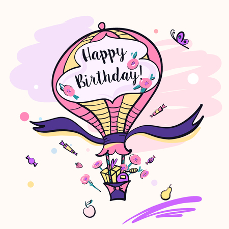 Image color vector balloon for happy birthday. Illustration