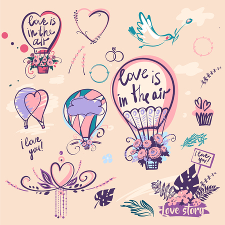 Set of stylish illustration balloon with flower design. Love is in the air. Image with heart.