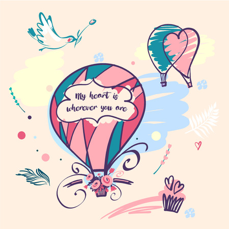 Stylish vector illustration balloon with flower design for greeting cards, posters, valentines day card, save the date card with text my heart is wherever you are.
