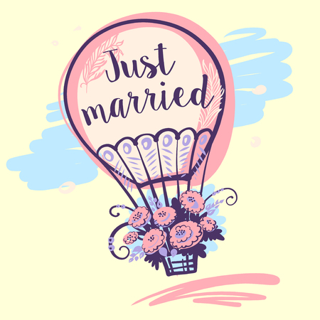 Just married text and balloon. Vector illustration