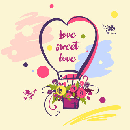 Hand drawn typography poster. Stylish illustration baloon with flower design about love for greeting cards, posters, valentines day card, save the date card with text love sweet.
