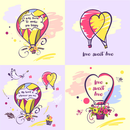 Set of vector stylish illustration balloon with flower design about love for greeting cards, posters, valentines day, save the date card with text. Illustration