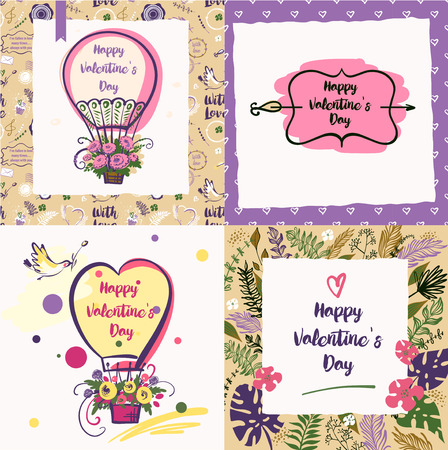 Set of temlplate vector invitation for party happy valentine day. Balloon with text.