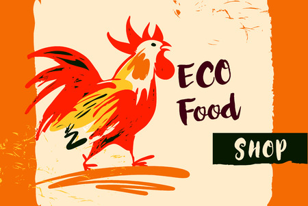 Hand drawn image with fire rooster. Concept design for eco food shop. set of illustrations with roosters. Different silhouettes, hand graph. Elements of design and background Illustration