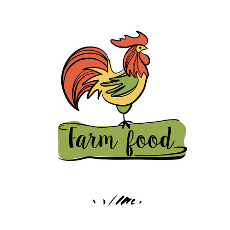Hand drawn image with color rooster. Concept design for eco farm food. Ilustração