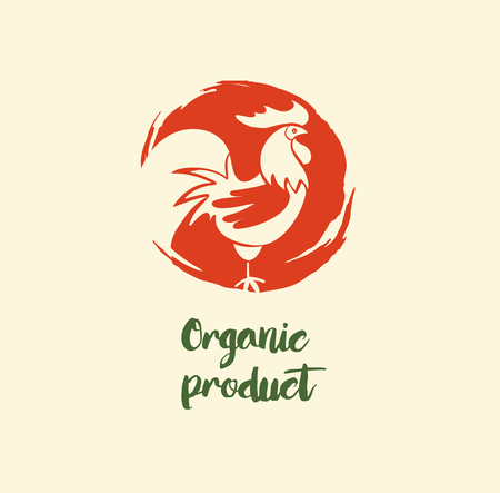 Organic product logo with hand drawn rooster.