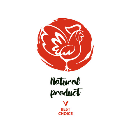 Natural product. Hand drawn illustration rooster with text best choice. Illustration