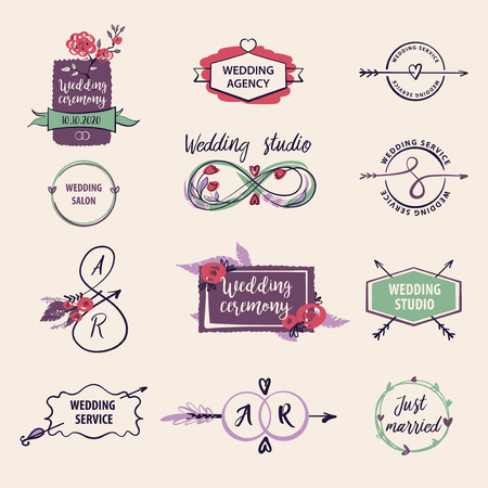 Set of different logo with relationship, love concept for wedding banner, card