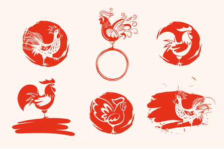 paintings: Set of hand drawn illustration of rooster on red ink. Illustration