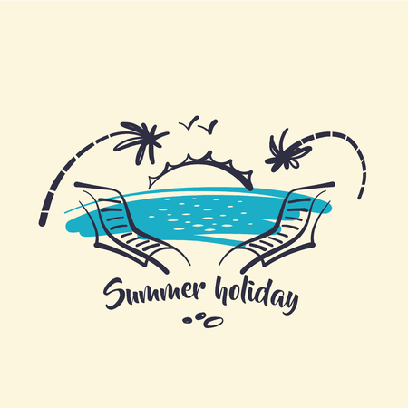 Hand drawn concept image of icon for summer.