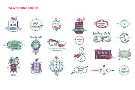 floral: Set of wedding logos for agency, studio, market and shop.