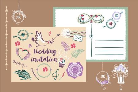 floral: Template vector postcard for wedding invitation card. Illustration
