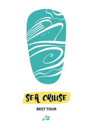 Freehand drawn image with cruise ship.