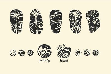 Set of style freehand drawn black image with tropic island. Illustration