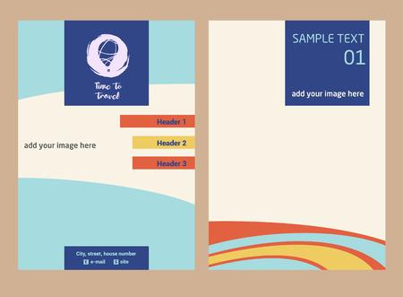 Ilustración de vector dibujado a mano alzada con globo de color. Elemento de diseño de identidad corporativa, banner, cartel, volante para negocios de agencias de viajes. Aventura de verano y viajes