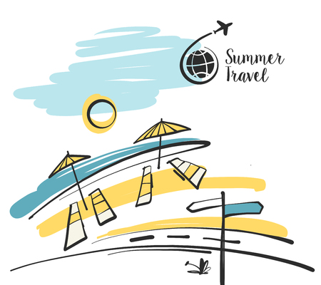 Freehand drawn  illustration with black logo for summer travel business tour agency. Sun umbrella on the beach with road.