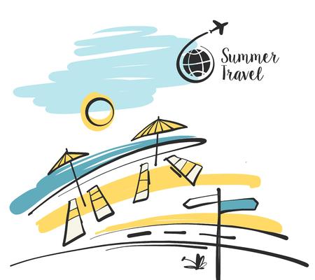Ilustración dibujada a mano alzada con logotipo negro para la agencia de viajes de negocios de viajes de verano. Sombrilla en la playa con la carretera. Logos