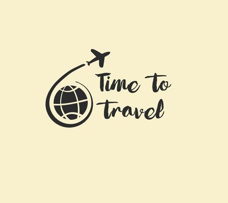 Freehand drawn  illustration black logo for summer travel business tour agency. Illustration