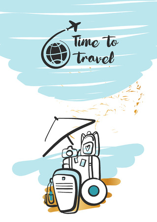 Freehand drawn  illustration with black logo for summer travel business tour agency. Tourist baggage on the beach with sand. Illustration
