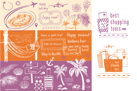 tour operator: Set of design elements on the subject of travel and tourism. Freehand drawn silhouettes. Beach vacation in the tropics, flight. Images for advertising banner tourism company, tour operator.