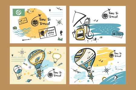 Freehand drawn vector illustration for travel agency business. Concept image balloon and journey baggage. Image of summer sea view. Ilustracja
