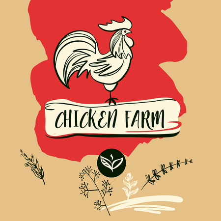 domesticated: Freehand drawn vector icon with hen on flesh background.