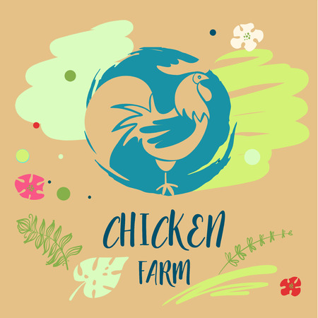 Freehand drawn vector icon with hen on flesh background.