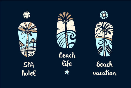 Set of vector style freehand drawing color image with palm tree for design t-shirt and tattoo. Element of illustration for travel and tour agency. Spa hotel, beach life and vacation.