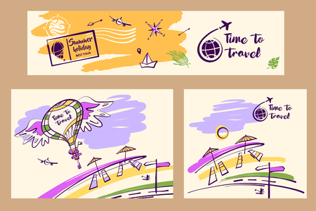Ilustración de vector dibujado a mano alzada para el negocio de agencia de viajes. Globo de imagen conceptual con alas y accesorios de viaje.