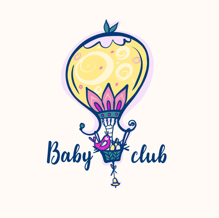Freehand drawn illustration with vector balloon and bird on basket. Concept image for design invitation to kid land, baby club, kindergarten. Ilustração