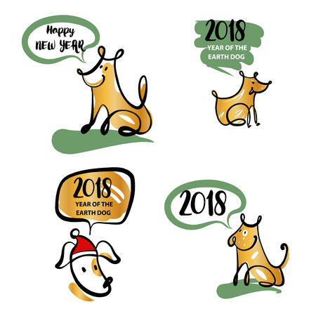 Set Of Sketch Image Four Dog Puppy Symbol Chinese Happy New