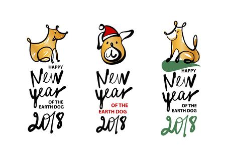 Set of sketch image three dog puppy. Symbol chinese happy new year 2018. Vettoriali
