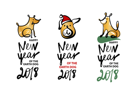 Set of sketch image three dog puppy. Symbol chinese happy new year 2018. Ilustração