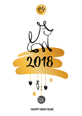 Set of sketch image dog puppy. Symbol chinese happy new year 2018.