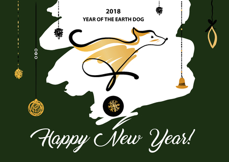Freehand drawn illustration design template greeting card, poster, banner for 2018 year of earth dog. Sketch image of dog on color background. Stock Illustratie