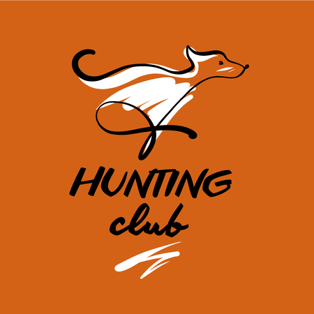 Vector template logo for hunting club. Sketch image of running dog.