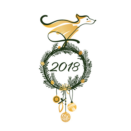 Freehand drawn illustration design template greeting card, poster, banner for 2018 year of earth dog. Sketch image of running dog and christmas tree branch on white background.