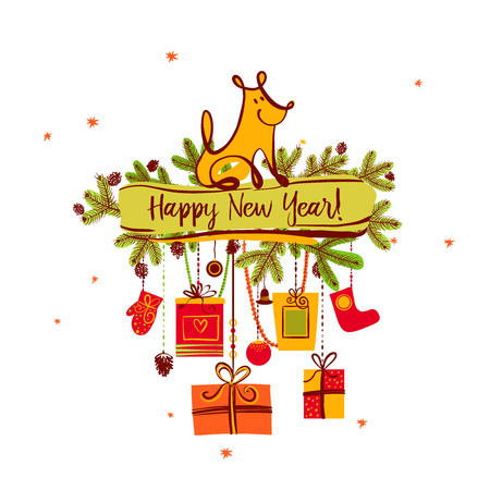 christmas greeting card: Freehand drawn illustration design template greeting card, poster, banner for 2018 year of earth dog. Sketch image of sitting dog and christmas gift on white background. Illustration