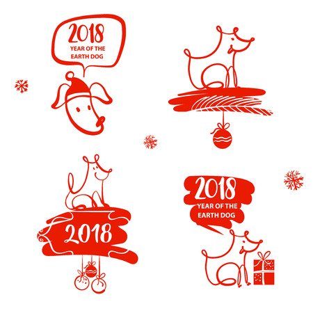 Set of freehand drawn illustration design template sign, logo, poster, banner for 2018 year of earth dog. Sketch image of red dog on white background.